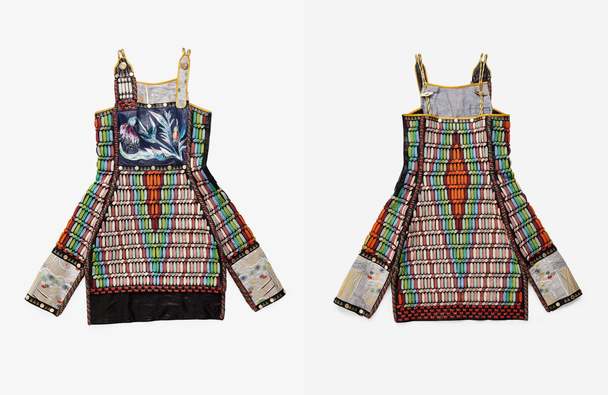 Natural dyed, Embroidered, Hand painted and Hand interlaced